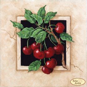 Схема для вышивки бисером на атласе Спелые вишни, , 75.00грн., ТА-377, Tela Artis (Тэла Артис), Пейзажи и натюрморты