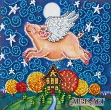 Набор-мини для вышивки бисером на натуральном художественном холсте Летающая свинка Абрис Арт AM-196