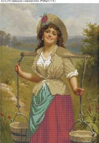 Схема для вышивки бисером на габардине Девушка с коромыслом