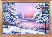 Схема для вышивки бисером на габардине Зимний закат