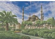 Схема для вышивки бисером на габардине Голубая мечеть