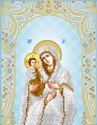 Схема для вышивки бисером на атласе Богородица Троеручица (серебро)