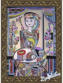Схема для вышивки бисером на атласе Народные инструменты-3 (по картине Д. Беридзе)