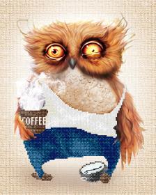 Схема вышивки бисером на атласе Кофе-джентльмен