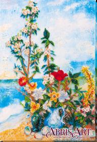 Набор для вышивки бисером на холсте Цветы на берегу