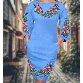 Заготовка для вышивки платья на голубом габардине Biser-Art 6009 голубой габардин - 509.00грн.