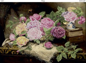 Схема для вышивки бисером на габардине Розы