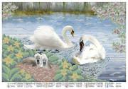 Схема вышивки бисером на атласе Лебеди