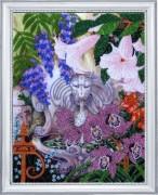 Схема для вышивки бисером на атласе Фонтан в саду