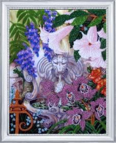 Схема для вышивки бисером на атласе Фонтан в саду  Баттерфляй (Butterfly) CA 229Б - 45.00грн.