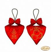 Схема для вышивки бисером на габардине Пендибюль новогодний красный