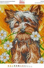 Схема вышивки бисером на габардине Собачка в ромашках