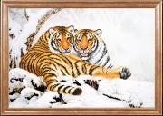 Схема вышивки бисером на габардине Тигры зимой
