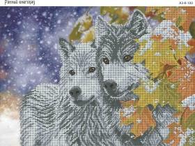 Схема для вышивки бисером на габардине Ранний снегопад