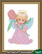 Рисунок на ткани для вышивки бисером Ангелочек с тюльпаном