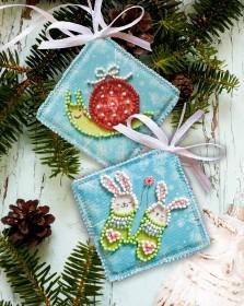 Набор для вышивки новогоднего украшения Ушастая парочка