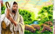 Схема вышивки бисером на габардине Ісус - добрий Пастир