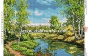 Схема для вышивки бисером на атласе Пейзаж з березами