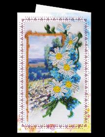 Набор для вышивки бисером Открытка-конверт Ромашковое поле