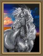 Схема вышивки бисером на авторской канве Конь черный