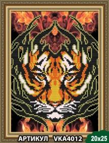 Рисунок на ткани для вышивки бисером Огненный тигр, , 54.00грн., VKA4012, Art Solo, Наборы и схемы для вышивки бисером и нитками Восток