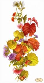 Схема вышивки бисером на габардине Лещина и хризантемы