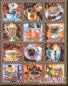Набор для вышивки бисером на холсте Кофейная карта, , 460.00грн., AB-638, Абрис Арт, Натюрморты