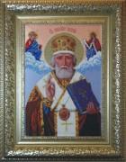 Схема вышивки бисером на ткани Св. Николай Чудотворец