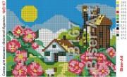 Схема вышивки бисером на габардине Весняний будинок