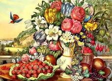 Набор для выкладки алмазной мозаикой Натюрморт фрукты и цветы DIAMONDMOSAIC DM-232