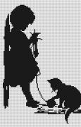 Набор для вышивки крестом Девочка с кошечкой