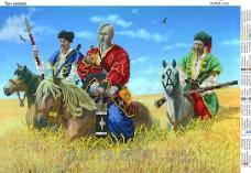 Схема вышивки бисером на атласе Три козака Юма ЮМА-3151