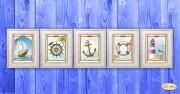 Схема для вышивки бисером на атласе на атласе Морская коллекция миниатюр