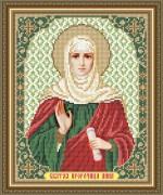 Схема вышивки бисером на габардине Св. Пророчица Анна