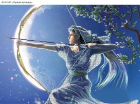 Схема для вышивки бисером на габардине Лунная лучница, , 70.00грн., А3-К-547, Acorns, Люди