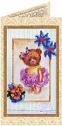 Набор - открытка для вышивки бисером Мишка Тедди 5