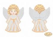 Схема для вышивки бисером на габардине Ангелочек в золотом