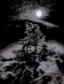 Схема вышивки бисером на атласе Темная ночь