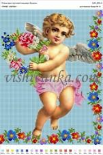 Схема для вышивки бисером на атласе Ангел у квітах Вишиванка А3-209 атлас
