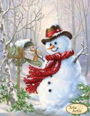 Схема вышивки бисером на атласе Новогодний почтальон