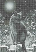 Схема вишивкі бісером на габардині Місячний кіт