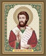 Схема вышивки бисером на габардине Св. Апостол Стахий (Станислав)