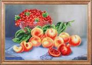 Схема для вышивки бисером на габардине Персики со смородиной