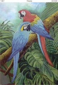 Схема для вышивки бисером на габардине Попугаи