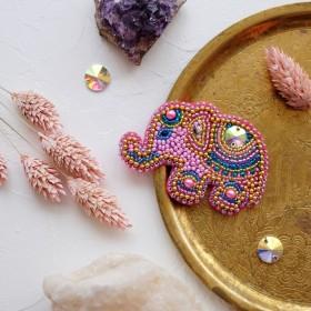 Набор для вышивки украшения Розовый слоненок