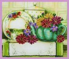 Набор для вышивки бисером Цветочный чай Картины бисером Р-333