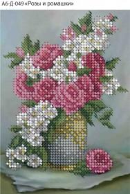 Схема для вышивки бисером на габардине Розы и ромашки Acorns А6-Д-049 - 23.00грн.