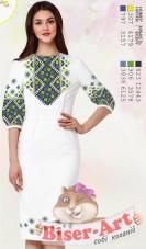 Заготовка жіного плаття на білому габардині Biser-Art 6043 біл гб