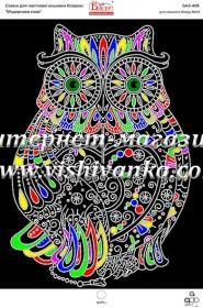 Схема вышивки бисером на габардине Модернова сова