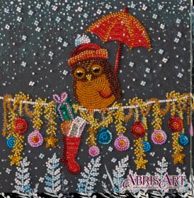 Набор-миди для вышивки бисером на натуральном художественном холсте Подарок совушке Абрис Арт AMB-049 - 219.00грн.